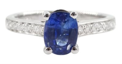 18ct white gold single stone oval sapphire ring
