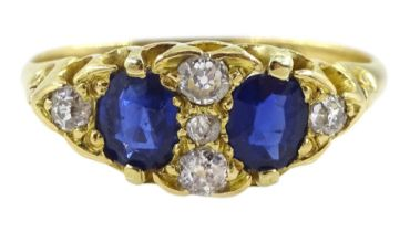 Victorian two stone oval sapphire and diamond ring