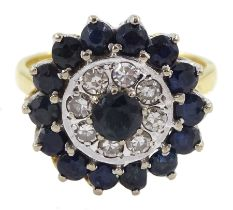 Gold round sapphire and diamond circular cluster ring