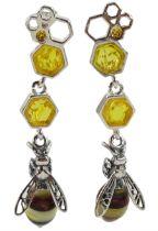 Pair of silver amber honey bee pendant stud earrings