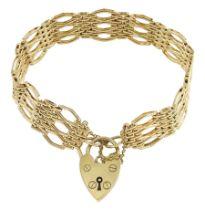 9ct gold fancy gate link bracelet