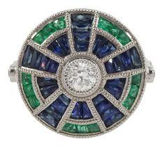Platinum diamond sapphire and emerald target ring