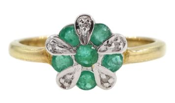 Silver-gilt emerald and diamond cluster ring