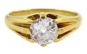 Early 20th century gold single stone diamond ring