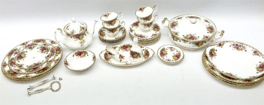 Royal Albert Old Country Roses part dinner and tea service comprising teapot