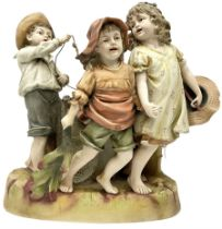 Large Victorian bisque figure group