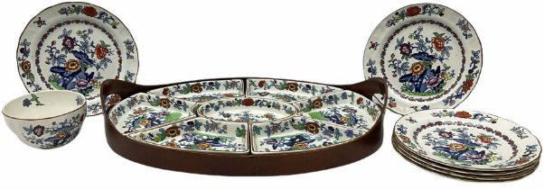 Booths Hors d'Oeuvres or supper set decorated in the Pompadour pattern