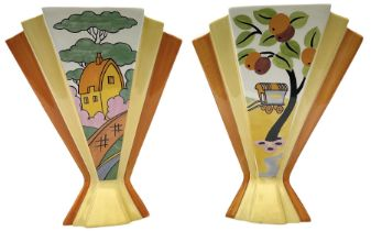 Two Wedgwood Clarice Cliff sunray vases