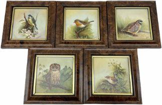 Five framed porcelain plaques