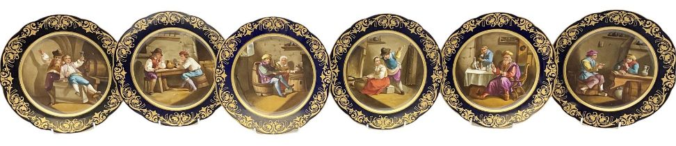 Set of six Sevres style cabinet plates