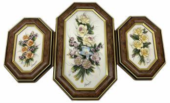 Set of three capo-de-monte wall plaques
