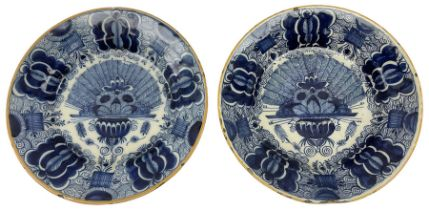 Pair of 18th/19th century Dutch Delft blue and white peacock plates
