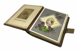 Victorian leather bound musical photo album