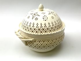Large 20th century Leeds pottery basket and cover