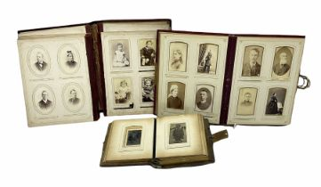 Three Victorian musical albums including one leather bound smaller example all with brass fixtures a