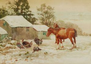 John Guttridge Sykes (British 1866-1941): Horses and Turkeys in a Snowy Farmyard