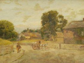 Attrib Henry Rollett (British exh.1886-1916): Village with Horse and Cart