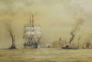 David C Bell (British 1950-): Shipping off Greenwich Docks