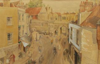 Ursula Macdonald (British b.1903): Elevated View of the Borough from King Street Canterbury