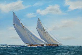 George Drury (British 1950-): 'Navahoe and Britannia 1893'