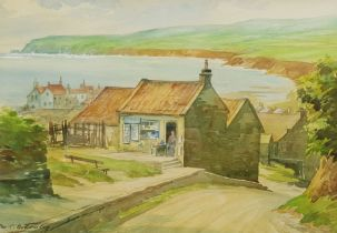 George C Bottomley (British 1894-1972): Robin Hood's Bay from the Bank Top