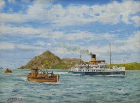 J C Burnie (British 20th century): Paddle Steamer Caledonia off Holy Isle