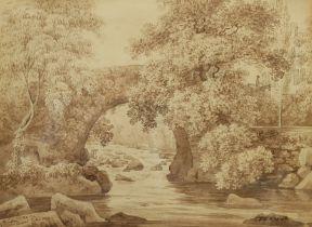 J Brown (British 19th century): 'Ivy Bridge Near Plymouth'