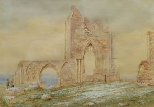 JG Hall (British 19th/20th century): Figures in Whitby Abbey