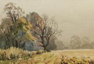 E Charles Simpson (British 1915-2007): 'Misty Day Snape' watercolour signed