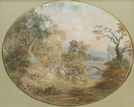 After Thomas Gainsborough (British 1727-1788): Figures in an Idyllic Landscape