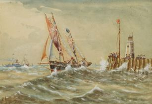 E Adams (British 19th/20th century): Shoreham Fishing Boat with Pier and Lighthouse