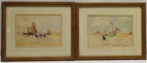 Dutch School (Early 20th century): Figures on Sandy Shores