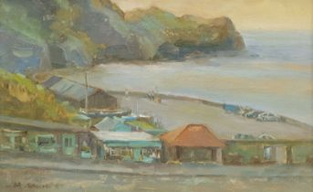 Michelle Saunders (British 1963-): Sandsend Car Park looking towards the Ness oil on board signed 18