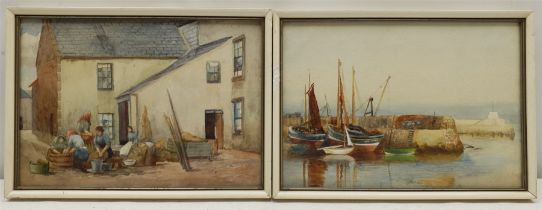 St Ives / Newlyn School (Early 20th century): The Washerwomen and Boats in Harbour