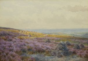 Mary Backhouse Bigland (British 1844-?): Horse Rider on the Moors with Larpool Viaduct and Whitby Ab