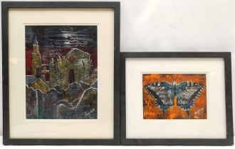 Penny Wicks (British 1949-): 'Abbey Ruins Whitby' and 'Butterfly'