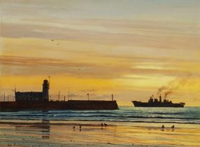 Don Micklethwaite (British 1936-): HMS Ark Royal at Scarborough 1988