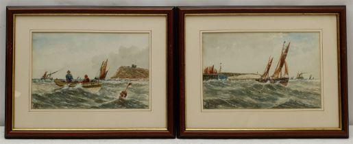 E Adams (British 19th/20th century): Coble in the North Bay Scarborough and Boats off Bridlington