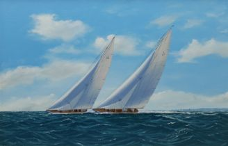 George Drury (British 1950-): 'Yankee and Velsheda at the West Country Regatta 1935'