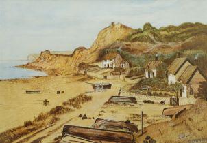 GB Lynton (British 20th century): Cornish Coastal Village '1895'