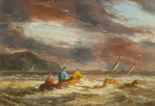 Ronald Cavalla (British 1940-): Rowing in Choppy Seas