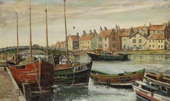 K Lund (British 20th century): Whitby Harbour