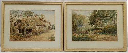 William Joseph Wadham (British 1863-1950): Farmstead and Shepherd Driving Sheep'