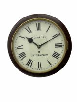 Wall clock with a 12-inch dial and spun brass bezel