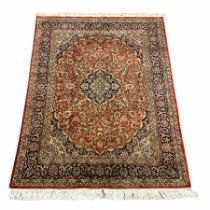 Persian Keshan red and blue ground rug