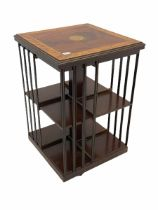 20th century inlaid mahogany and satinwood revolving bookcase
