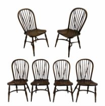 Set four ash stick and hoop back Windsor chairs
