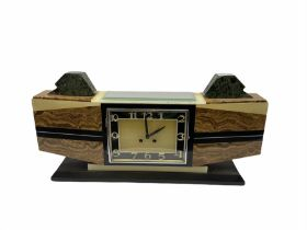 1930�s French Art Deco mantle clock in distinctive vein cut brown marble with inlaid cream and black