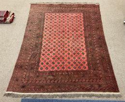 Large red ground Persian Bokhara carpet