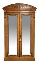 Alex Mackenzie & Co. Glasgow - Large late 19th century Scottish birds eye maple double wardrobe